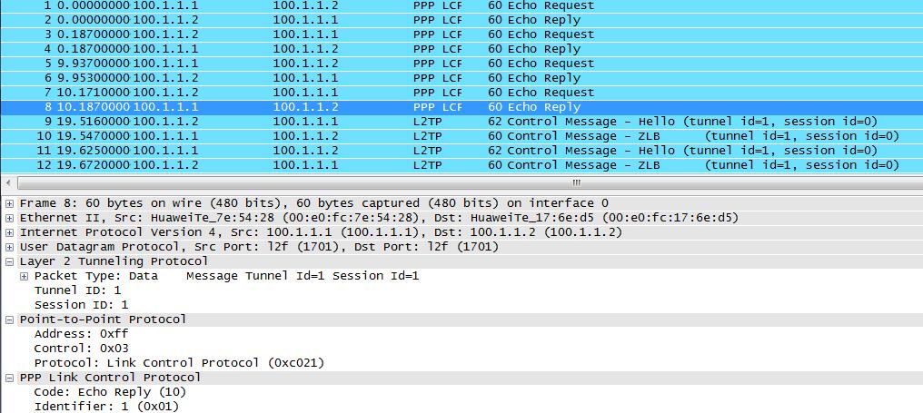 L2TP capture packets